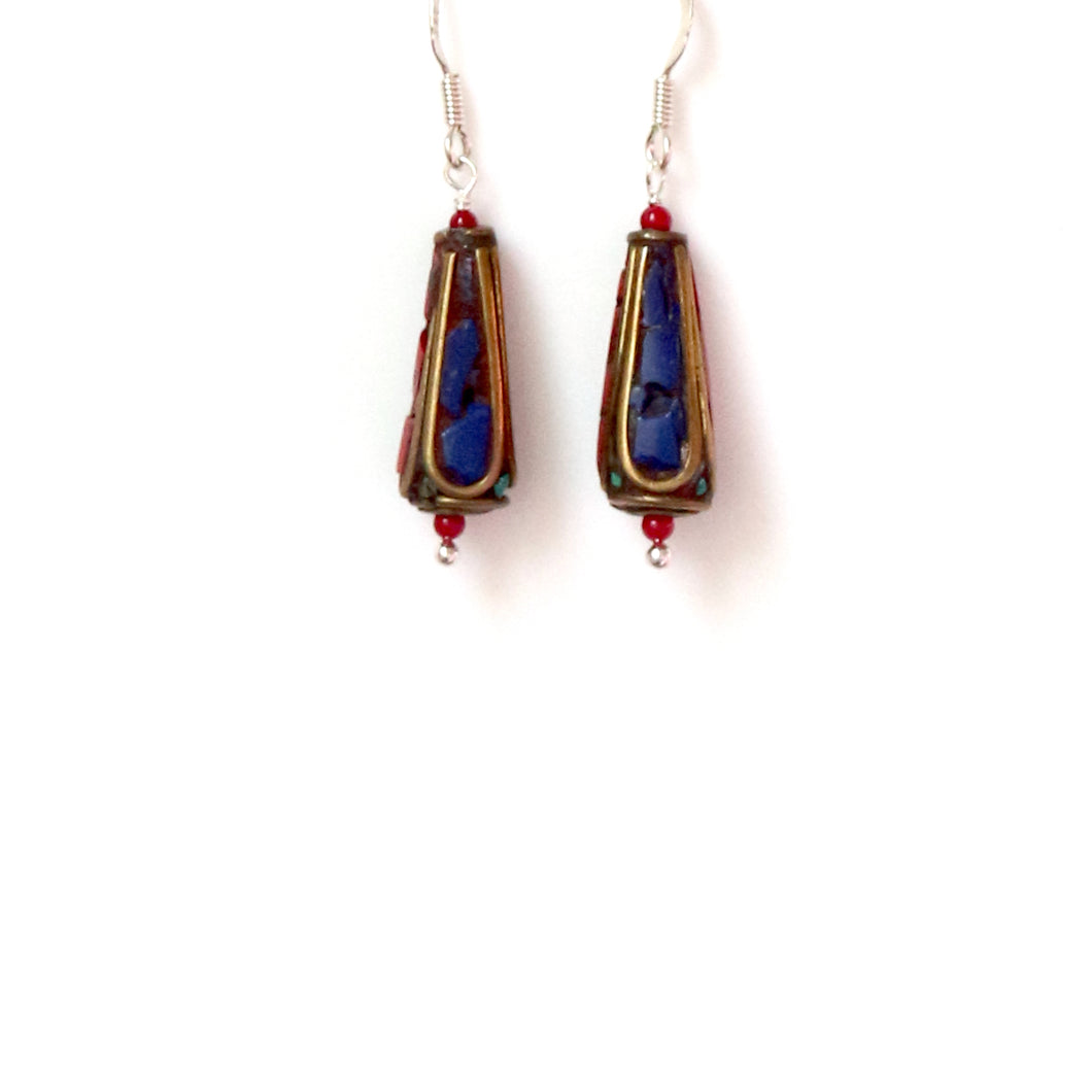 Nepalese Bead Lapis Lazuli Brass and Sterling Silver Earrings