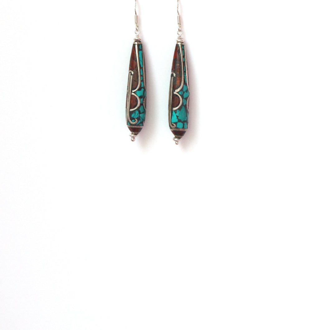 Nepalese Long Bead Coral and Turquoise Earrings