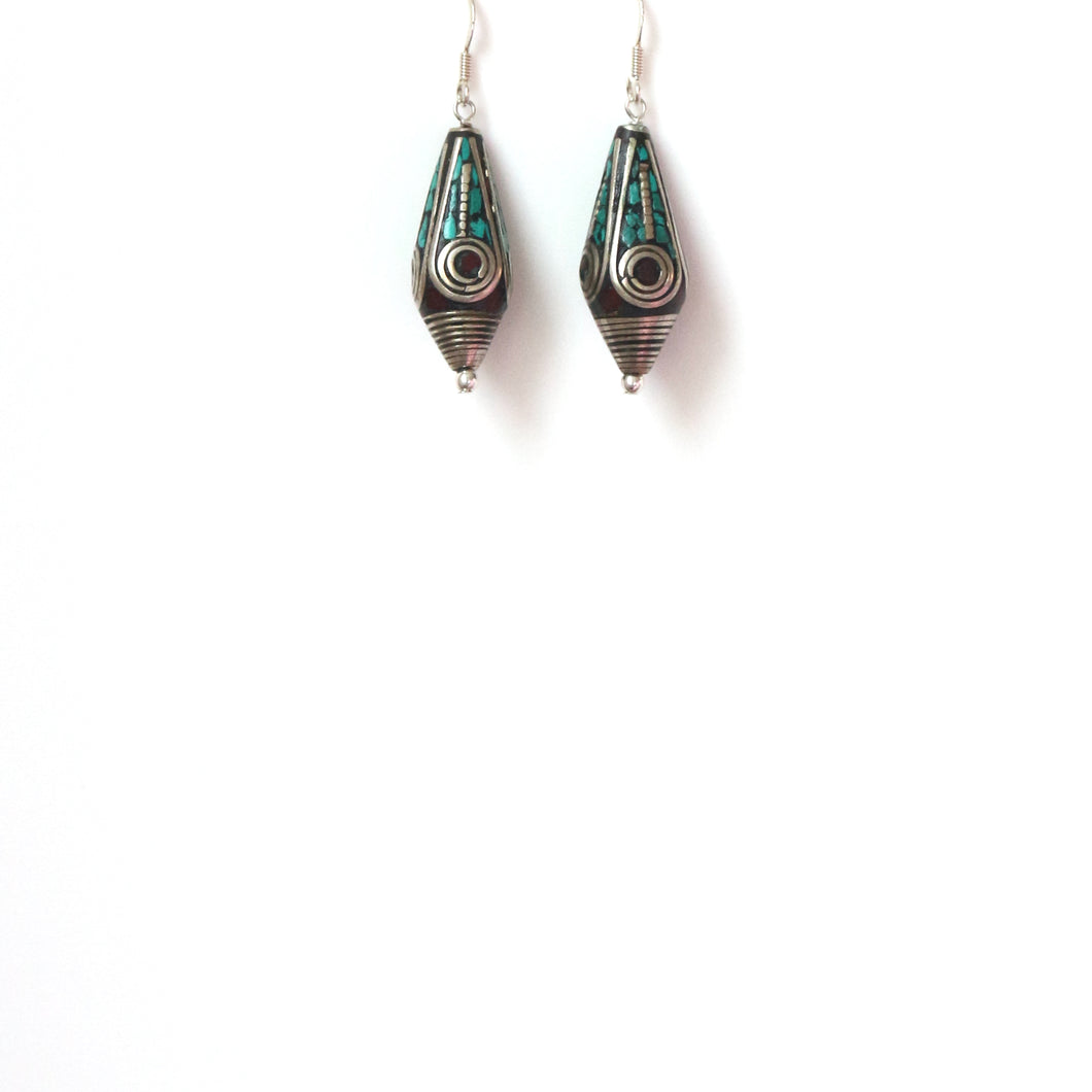 Nepalese Bead Cone Shape and Sterling Silver Earrings