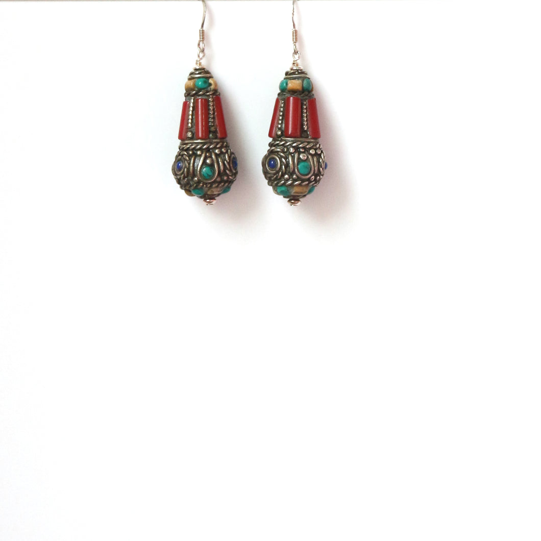 Nepalese Bead Bell Shape with Coral Turquoise Lapis Lazuli and Sterling Silver Earrings