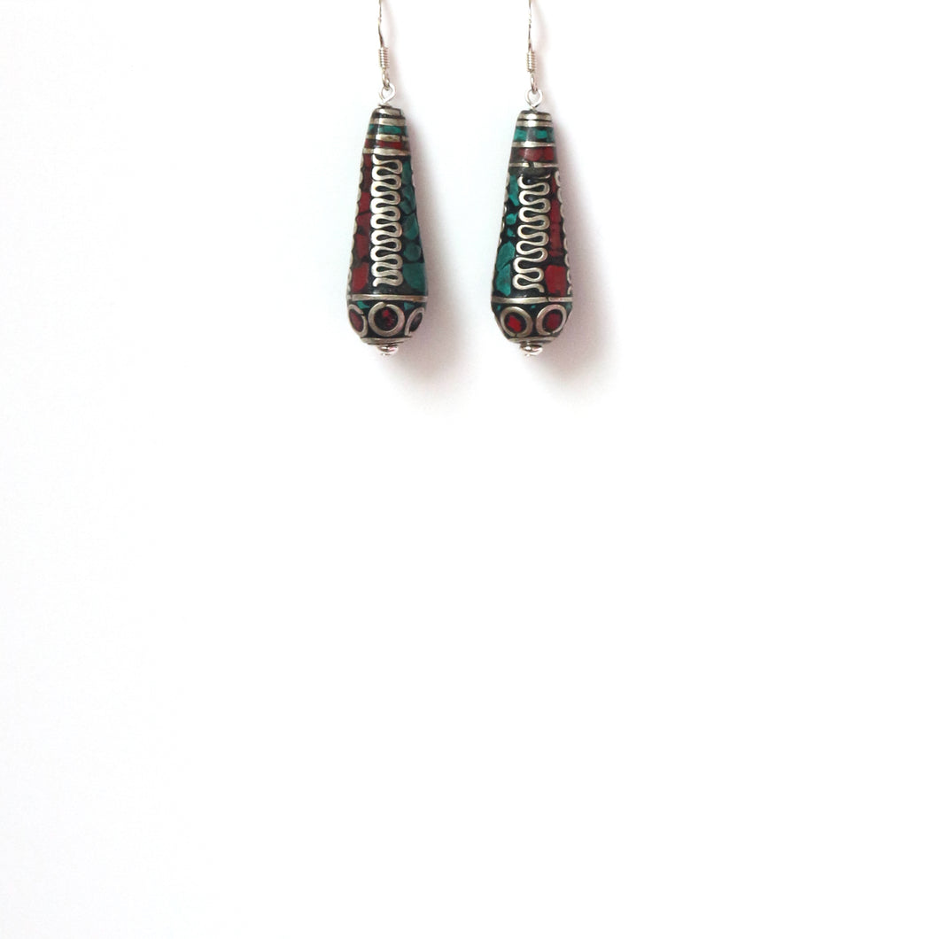 Nepalese Bead with Coral Turquoise and Sterling Silver Earrings