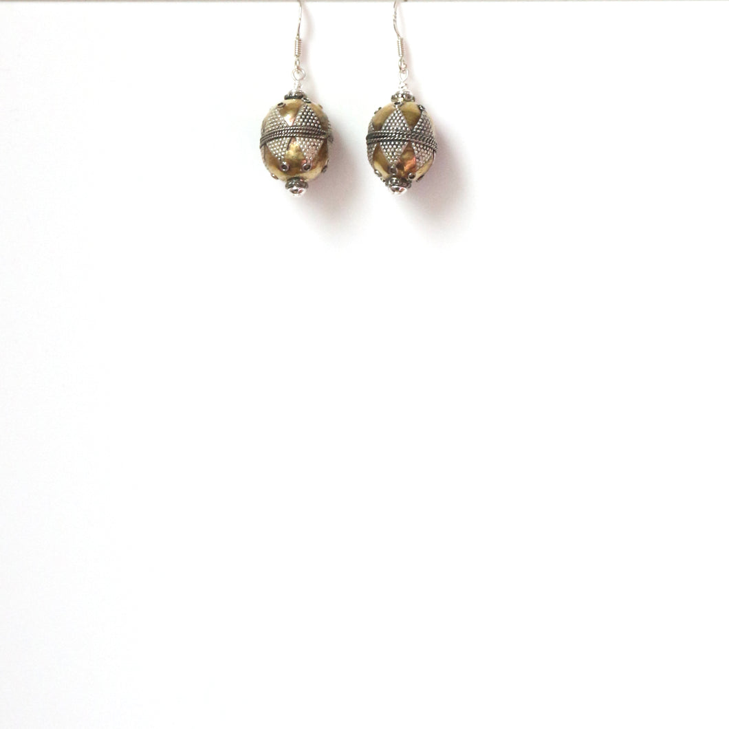 Gold Plated and Sterling Silver Afghani Bead Earrings
