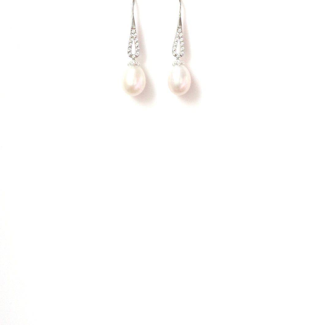 Freshwater Pearl Cubic Zirconia and Sterling Silver Hook Earrings
