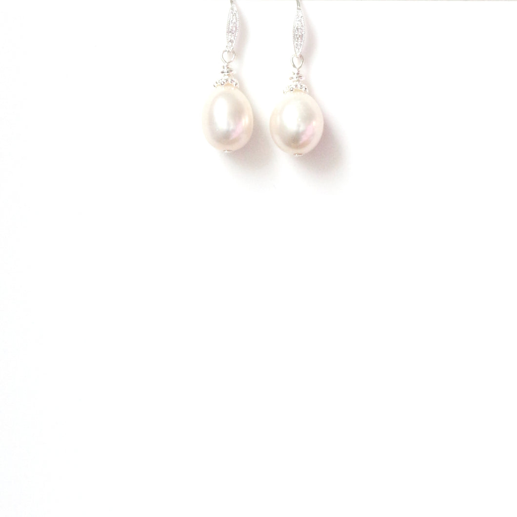 Freshwater  Pearl with Sterling Silver Cap and Cubic Zirconia Hook Earrings