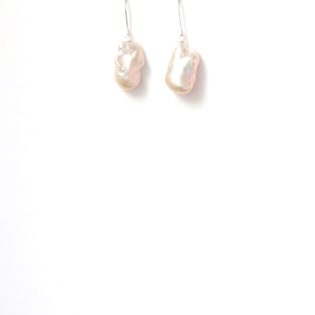 Freshwater Baroque Pearl and Sterling Silver Earrings