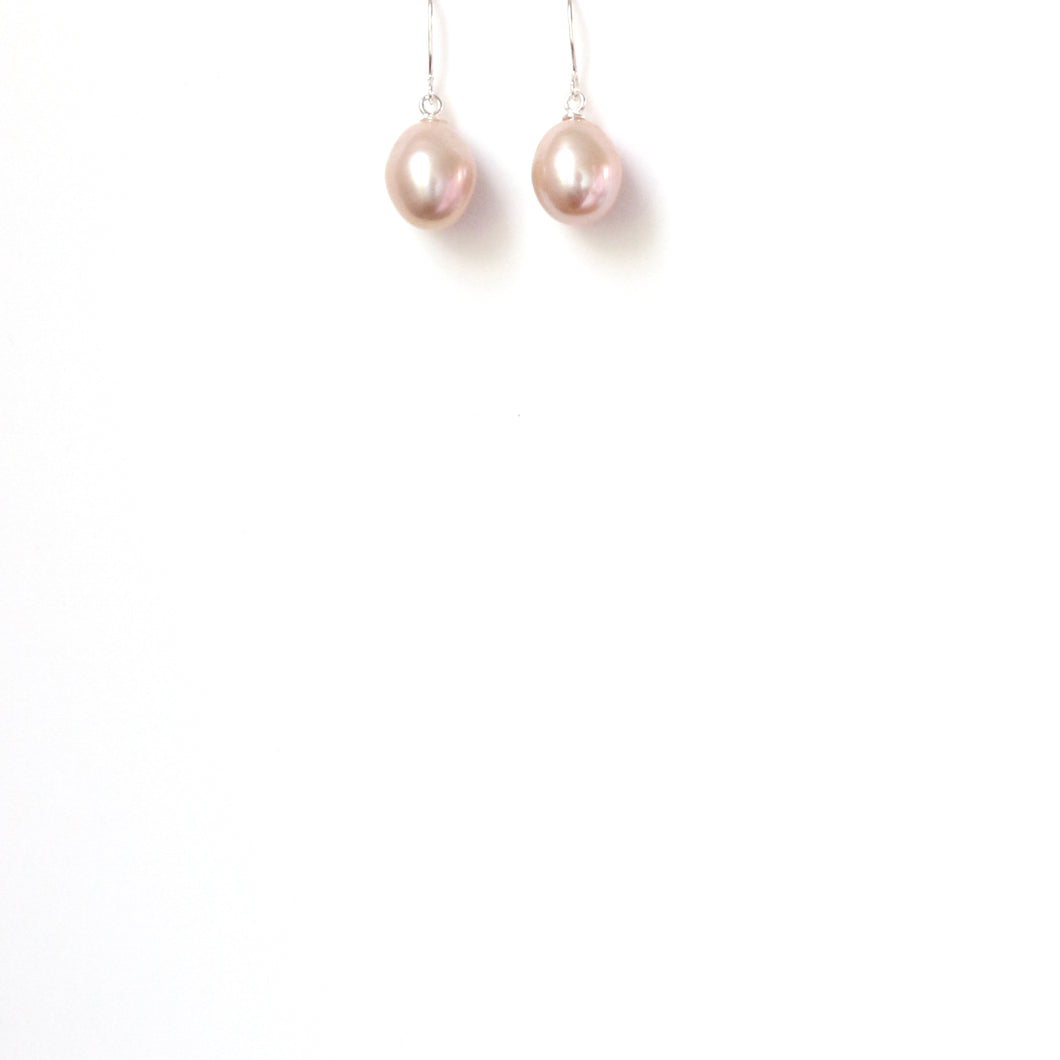 Freshwater Natural Colour Pink Teardrop Pearl and Sterling Silver Hook Earrings