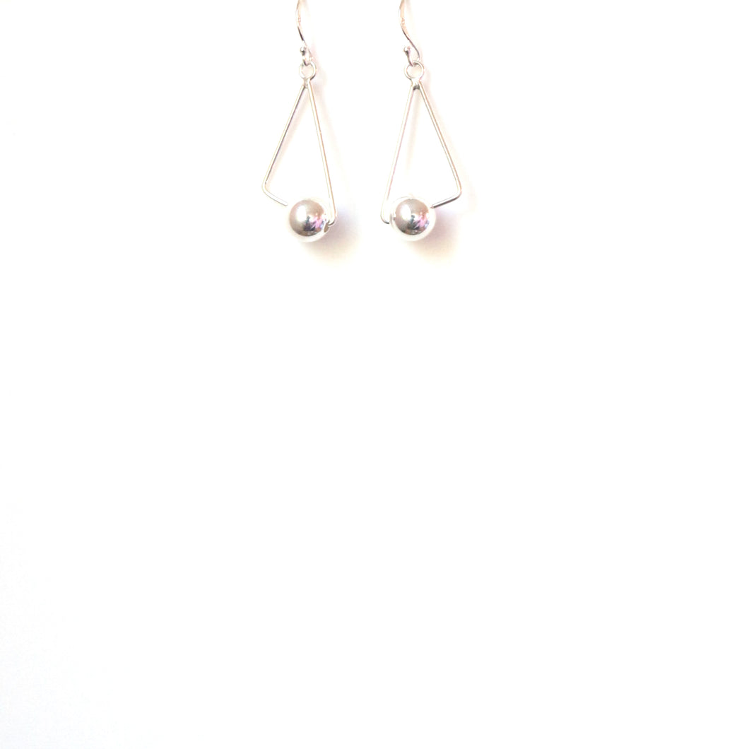 Sterling Silver Modern Shape Triangle with Ball Earrings