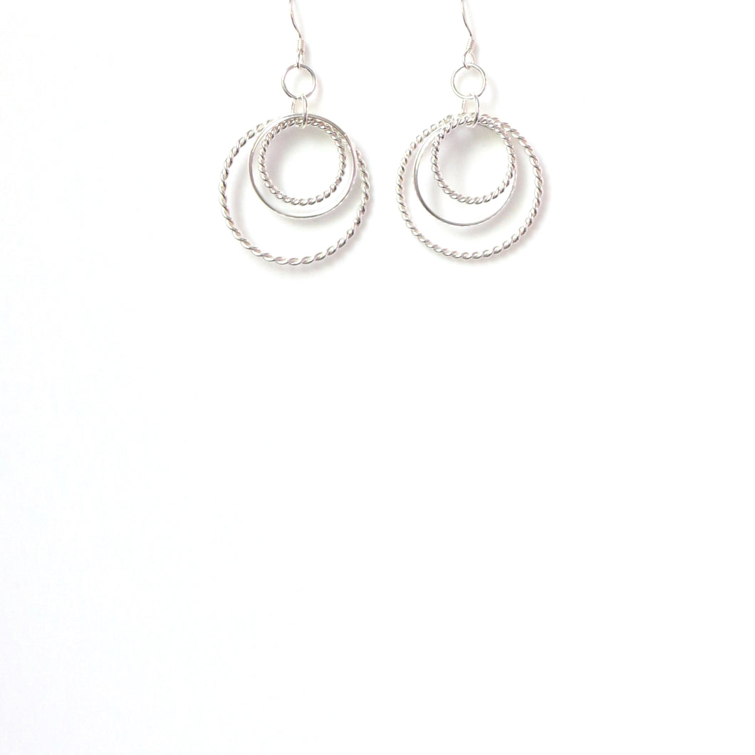 Sterling Silver Multi Hoop Rope Earrings