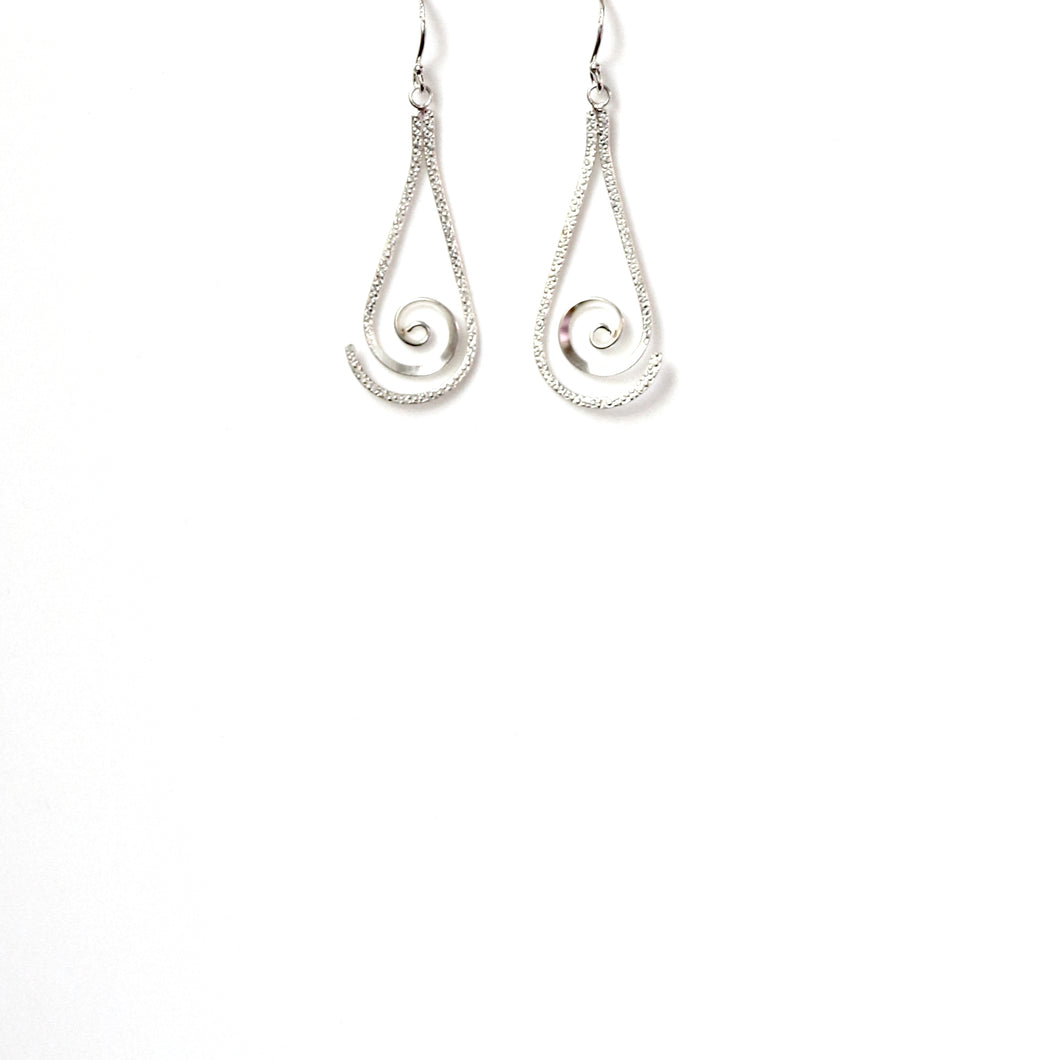 Sterling Silver Beaten Twirl Earrings