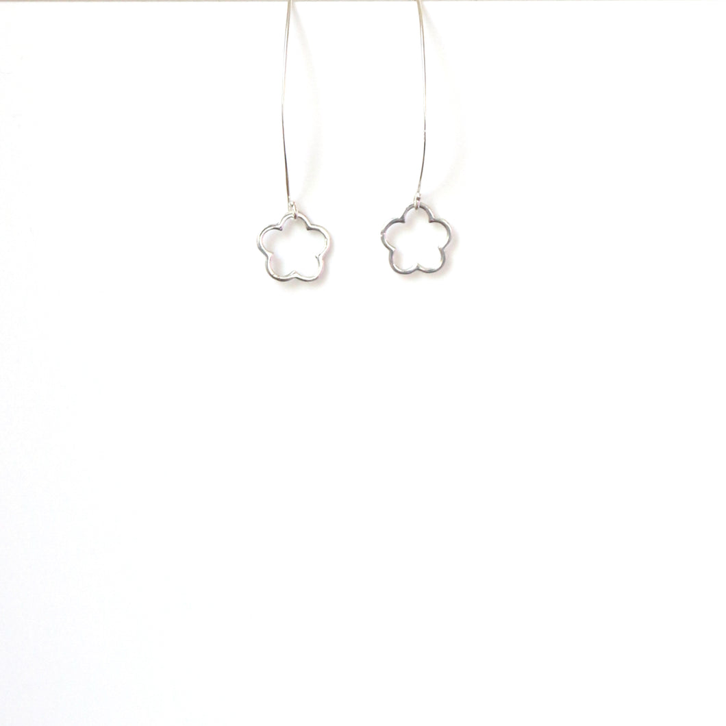 Sterling Silver Long Hook with Flower Earrings
