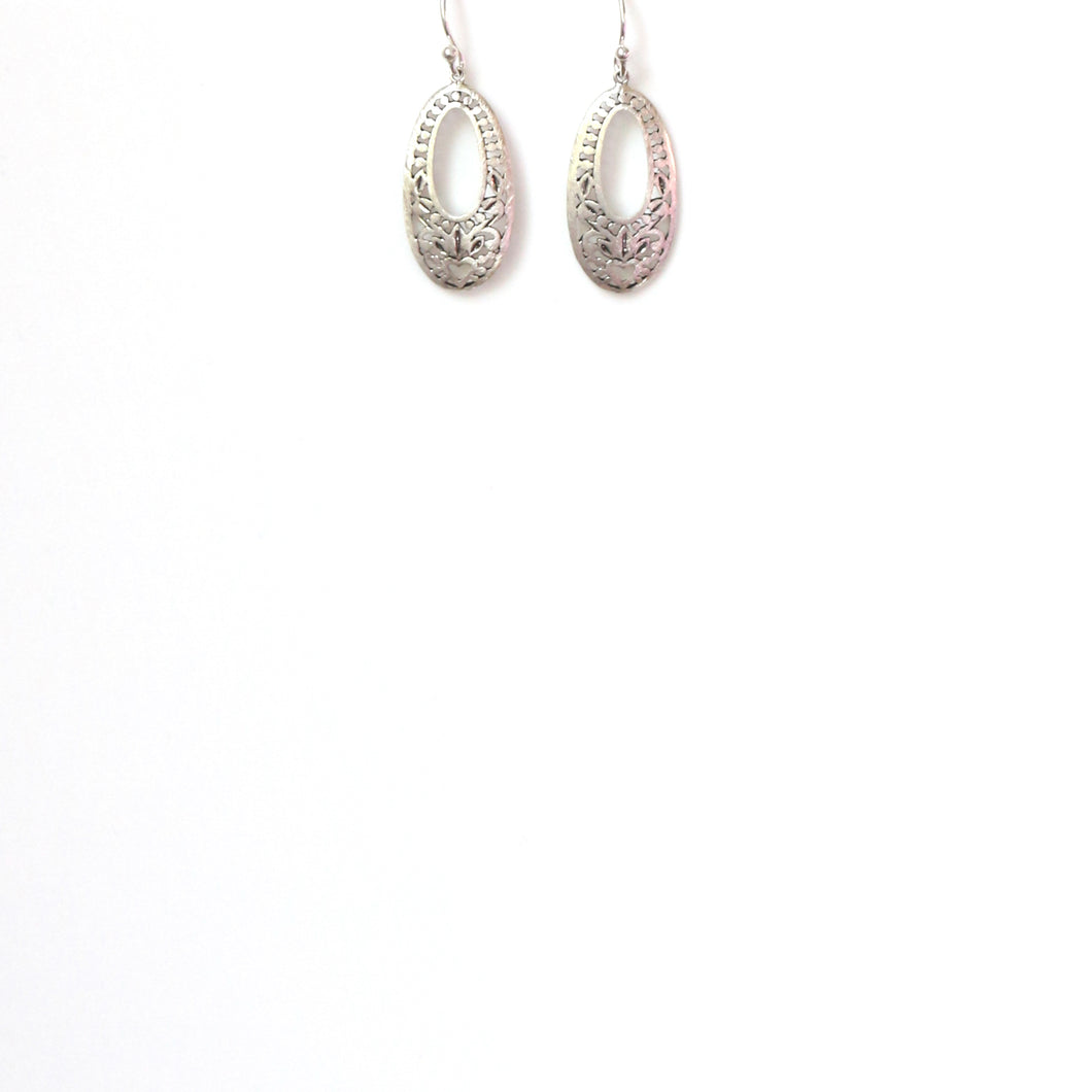 Sterling Silver Oval Filigree Earrings