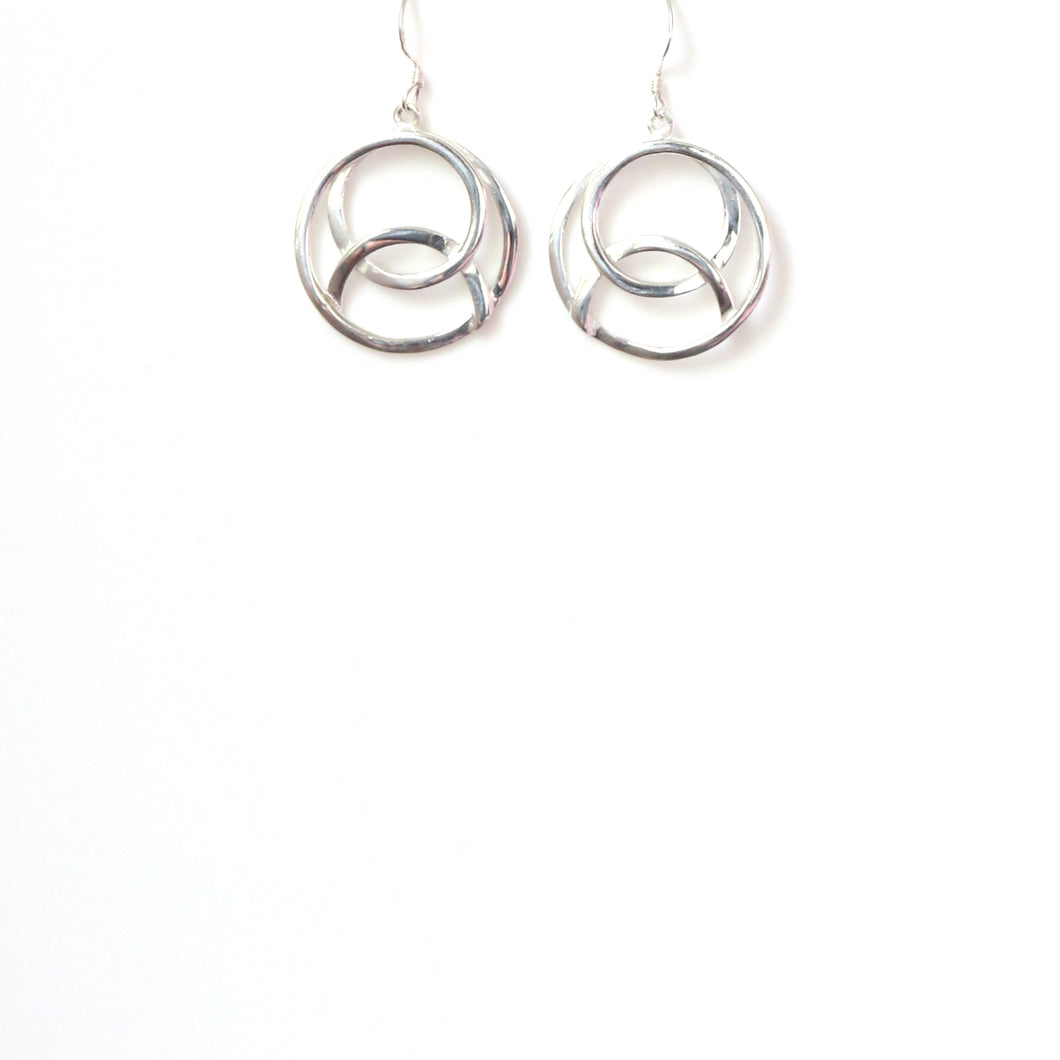 Sterling Silver Intertwined Ring Earrings