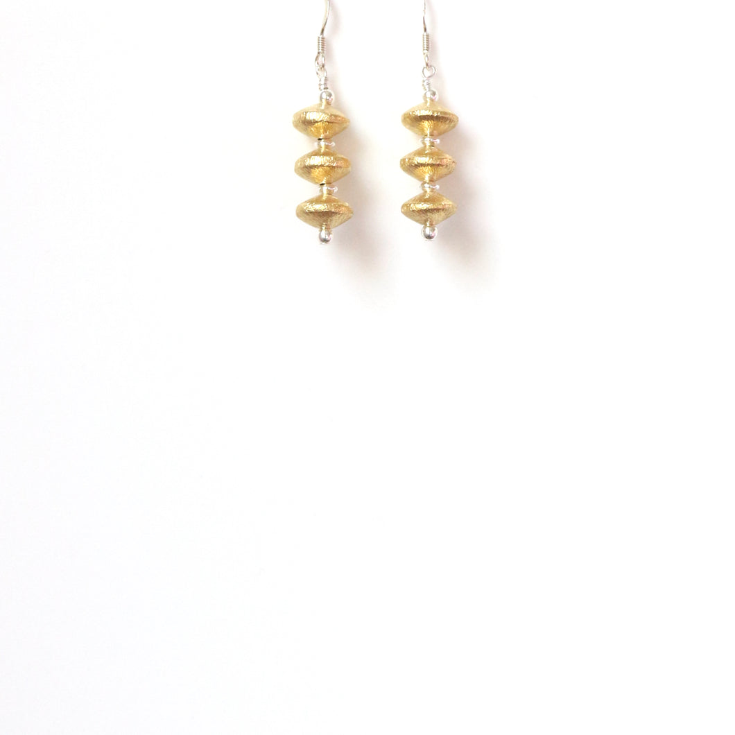 Gold Plated Sterling Silver Multi Rondell Earrings
