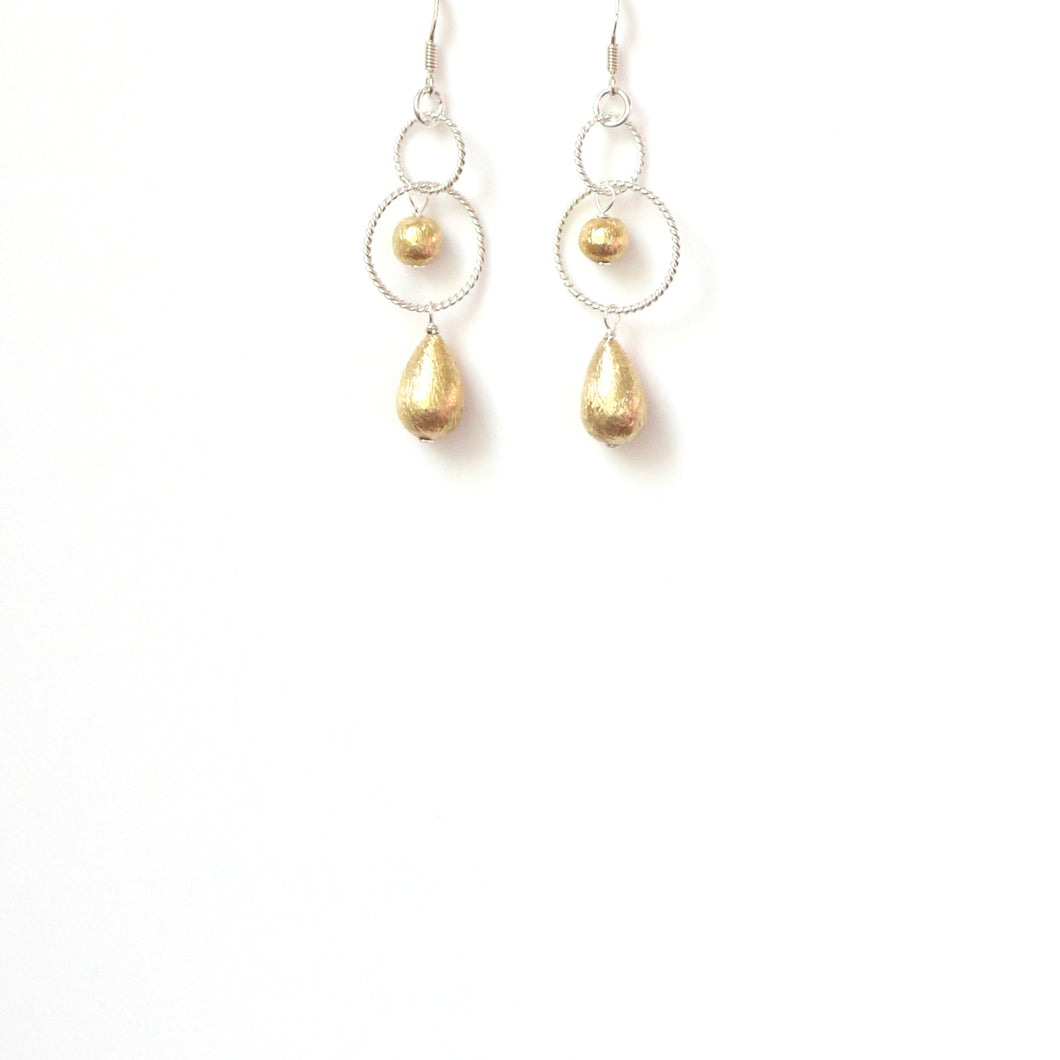 Gold Plated Sterling Silver Teardrop Ball and Silver Ring Earrings