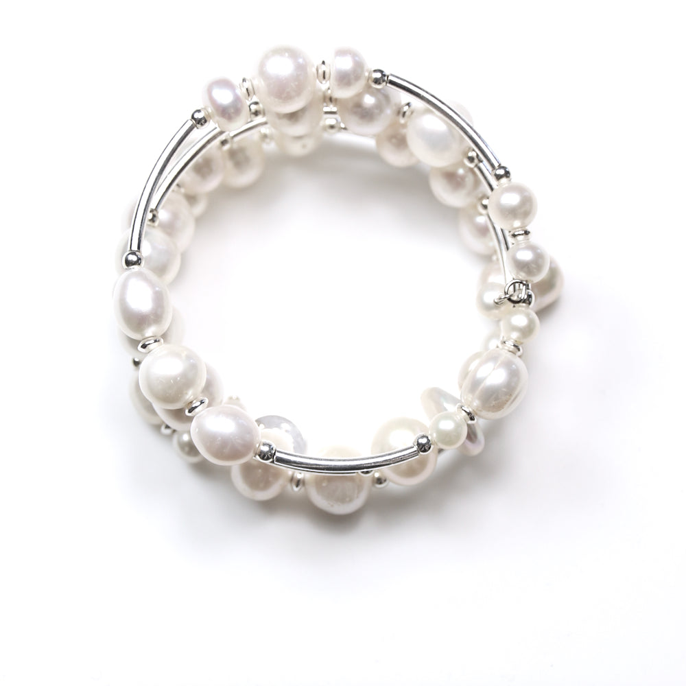 White Pearl Wind On Bracelet and Sterling Silver