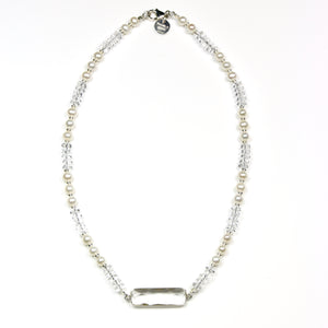 Australian Handmade Crystal Quartz Necklace with Pearls and Crystal Quartz Centrepiece set in Silver