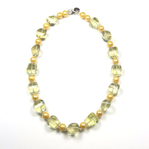 Australian Handmade Yellow Lemon Quartz with Yellow Pearl and Sterling Silver Necklace