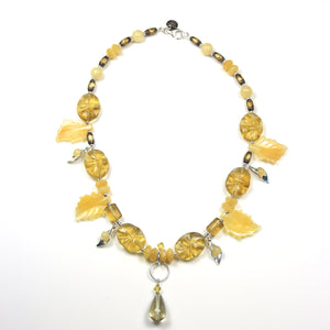 Australian Handmade Yellow Fluorite Jade Calcite Brass Bead and Sterling Silver Necklace