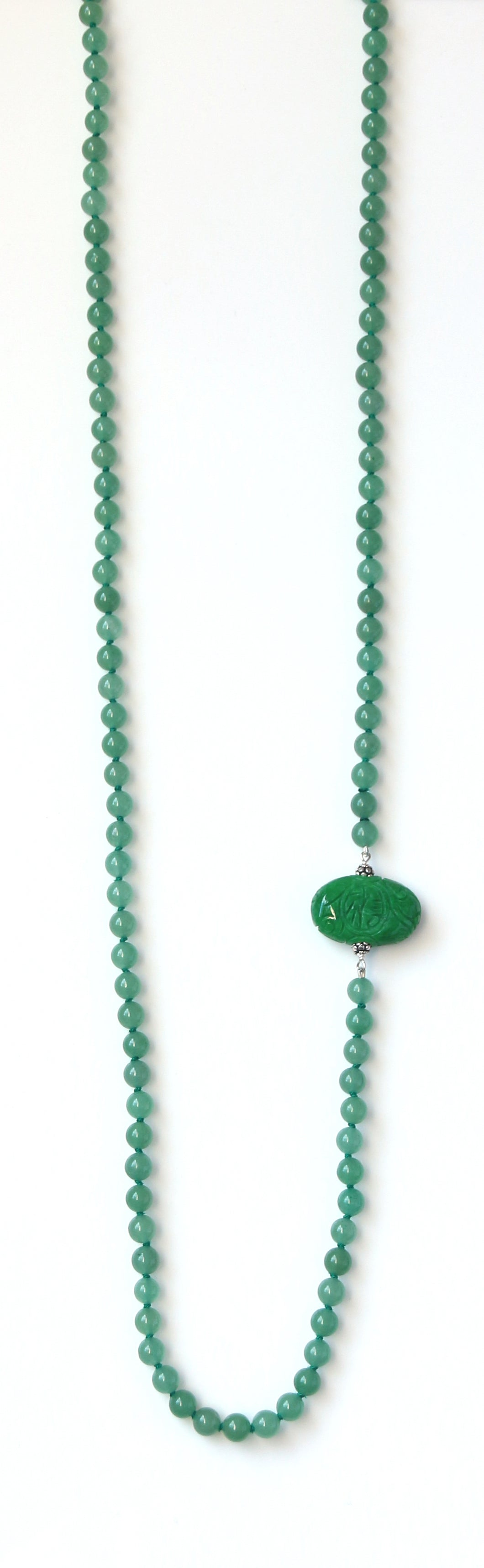 Australian Handmade Green Long Necklace with Jade Side Piece