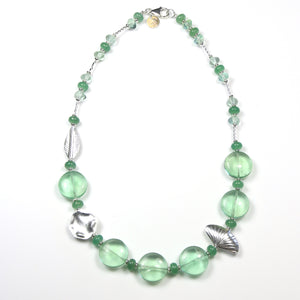 Australian Handmade Green Necklace with Fluorite Aventurine and Sterling Silver