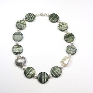 Australian Handmade Green Necklace with Silver Leaf Jasper Baroque Pearl Pearls and Sterling Silver