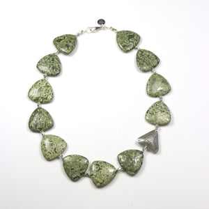 Australian Handmade Green Necklace with Rhyolite and Sterling Silver Feature Piece