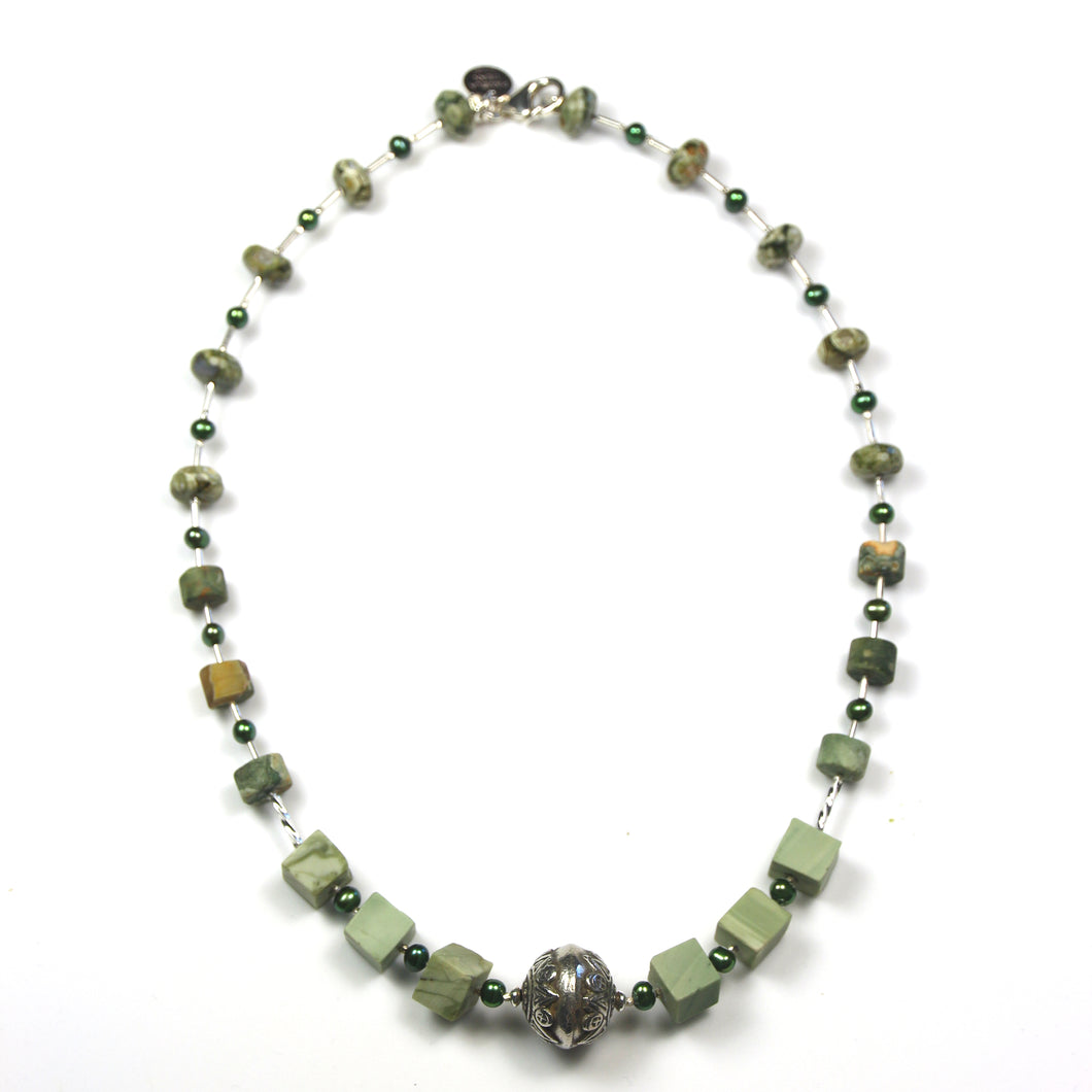 Australian Handmade Green Necklace with Imperial Jasper Rhyolite Green Pearls and Sterling Silver
