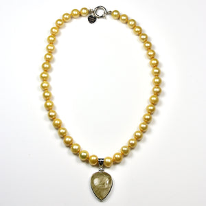 Australian Handmade Yellow Necklace with Yellow Pearls and Gold Rutile Quartz Pendant