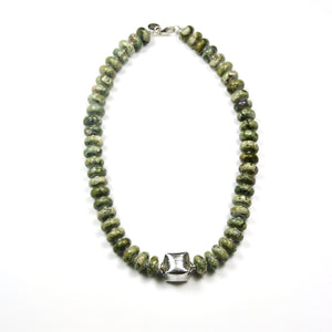 Australian Handmade Green Necklace with Rhyolite and Sterling Silver Centrepiece