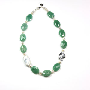 Australian Handmade Green Necklace with Facetted Aventurine Baroque Pearl pearls and Sterling Silver