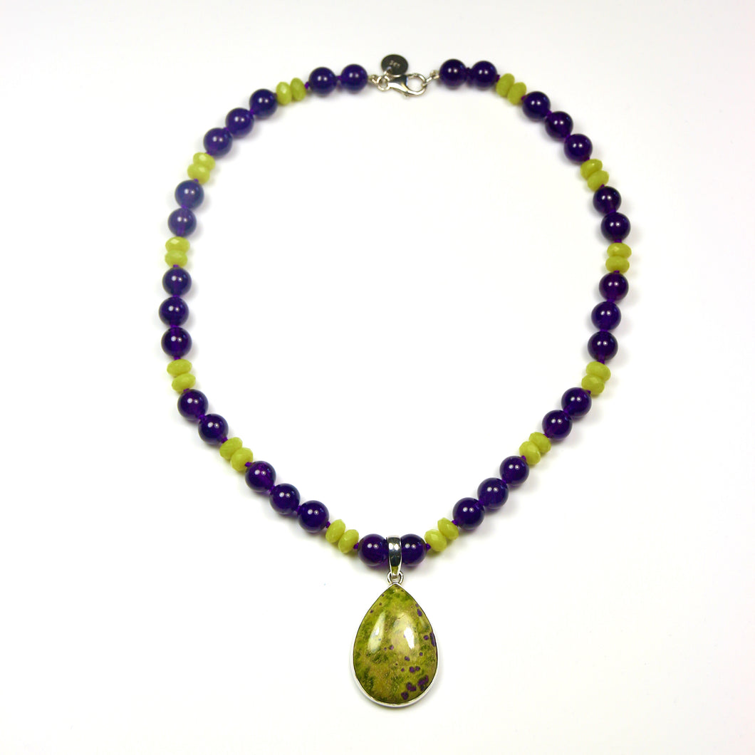Australian Handmade Green Lemon Jade and Amethyst Necklace with Stichtite Pendant set in Sterling Silver