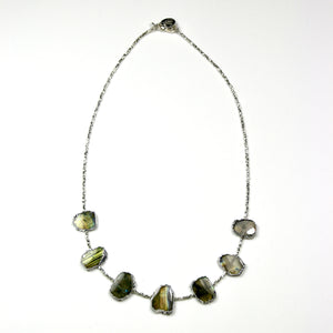 Australian Handmade Green Necklace with Sterling Silver and Labradorite set in Sterling Silver