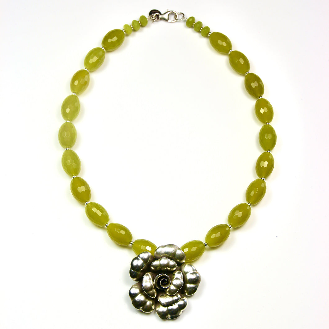 Australian Handmade Green Necklace with Lemon Jade and Sterling Silver Flower Pendant