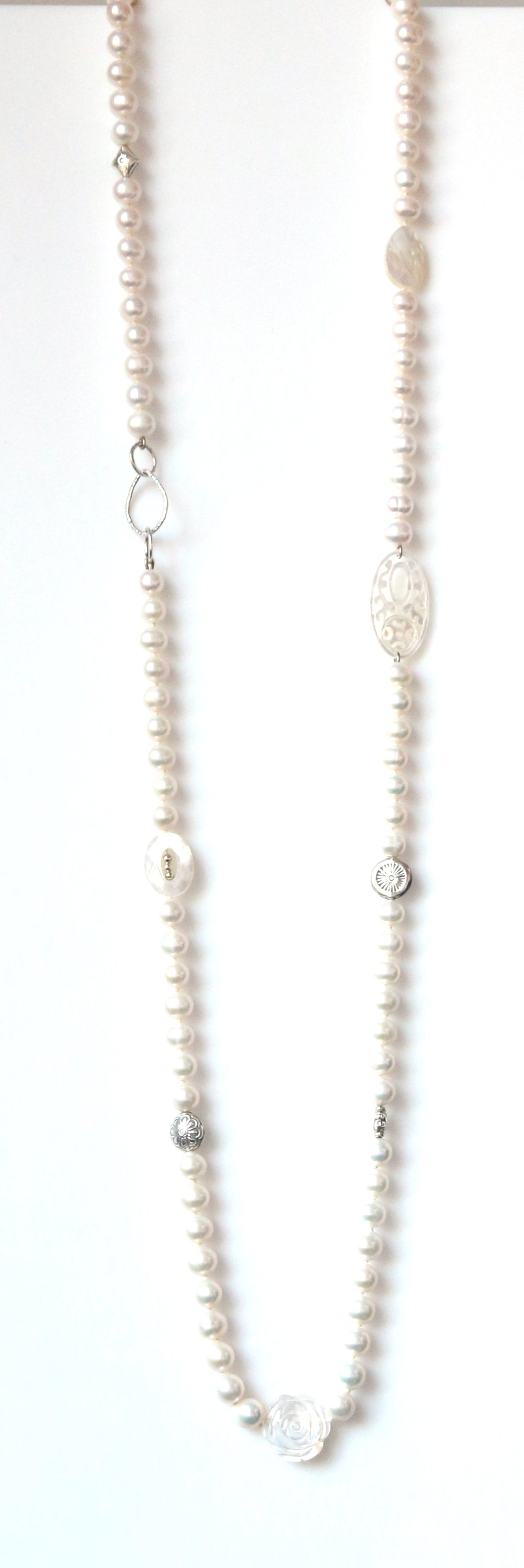 Australian Handmade White Long Necklace with Pearls Mother of Pearl and Sterling Silver features