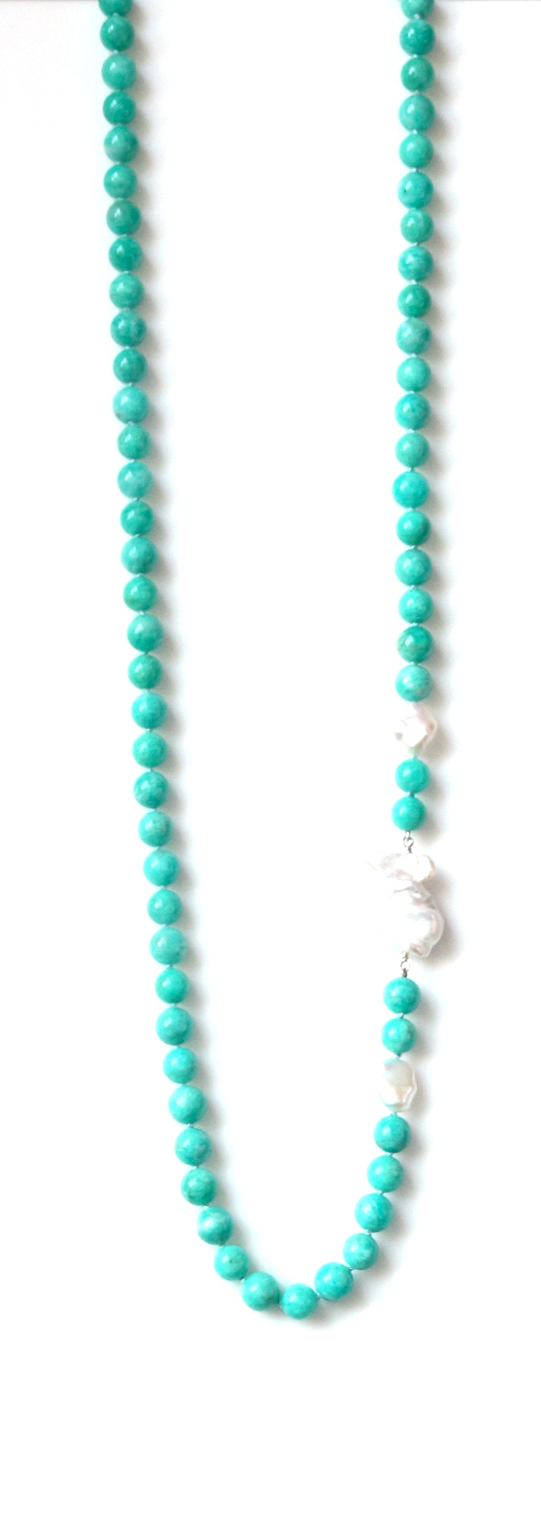 Australian Handmade Long Necklace with Peruvian Amazonite and Baroque Pearl