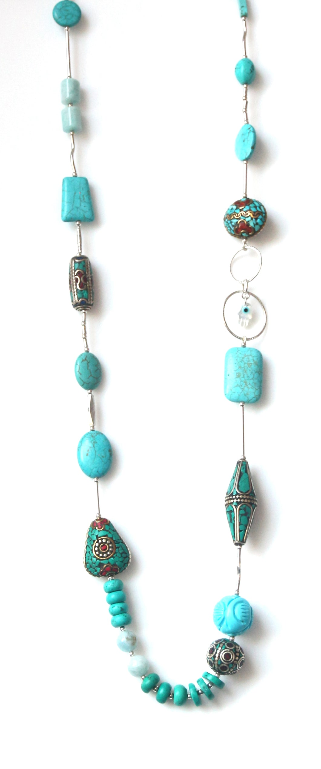 Australian Handmade Long Necklace with Nepalese Beads Amazonite Turquoise and Sterling Silver