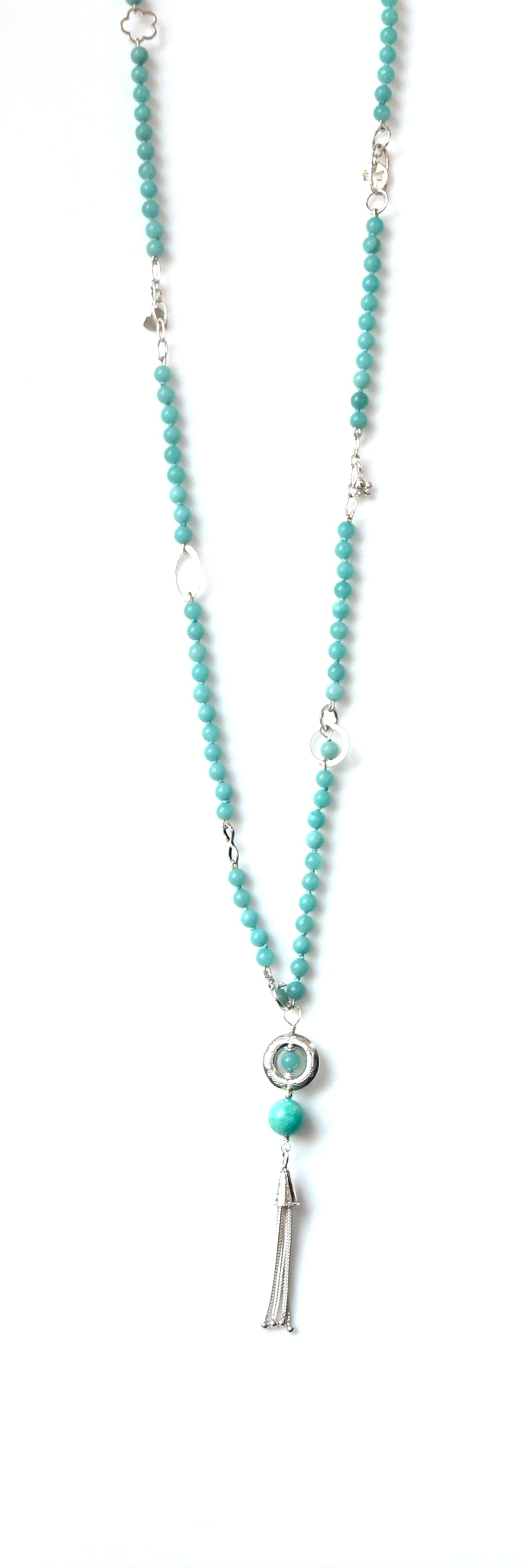 Australian Handmade Long Necklace with Amazonite and Sterling Silver