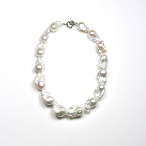 Australian Handmade White Large Baroque Pearl Necklace