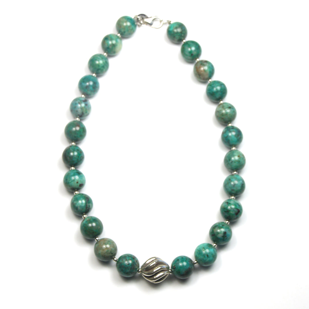 Australian Handmade Turquoise Necklace with Chrysocolla and Sterling Silver Centrepiece