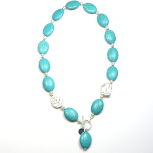 Australian Handmade Necklace Turquoise Colour with Howlite Baroque Pearl Pearls and Sterling Silver