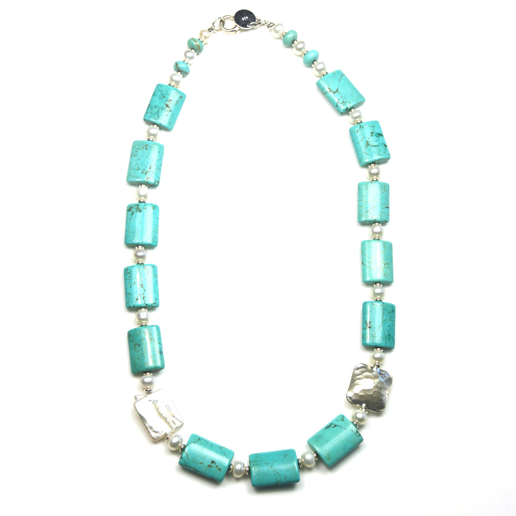 Australian Handmade Necklace with Howlite Pearls and Sterling Silver