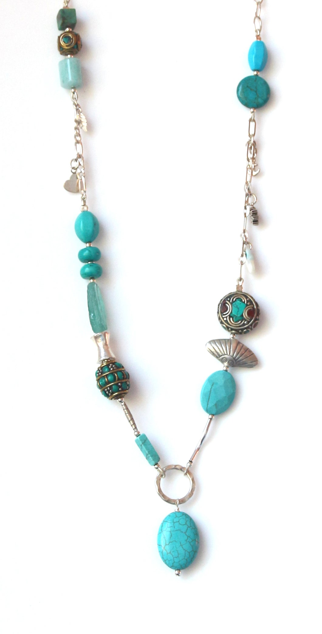 Australian Handmade Necklace with Howlite Amazonite Nepalese Beads and Sterling Silver