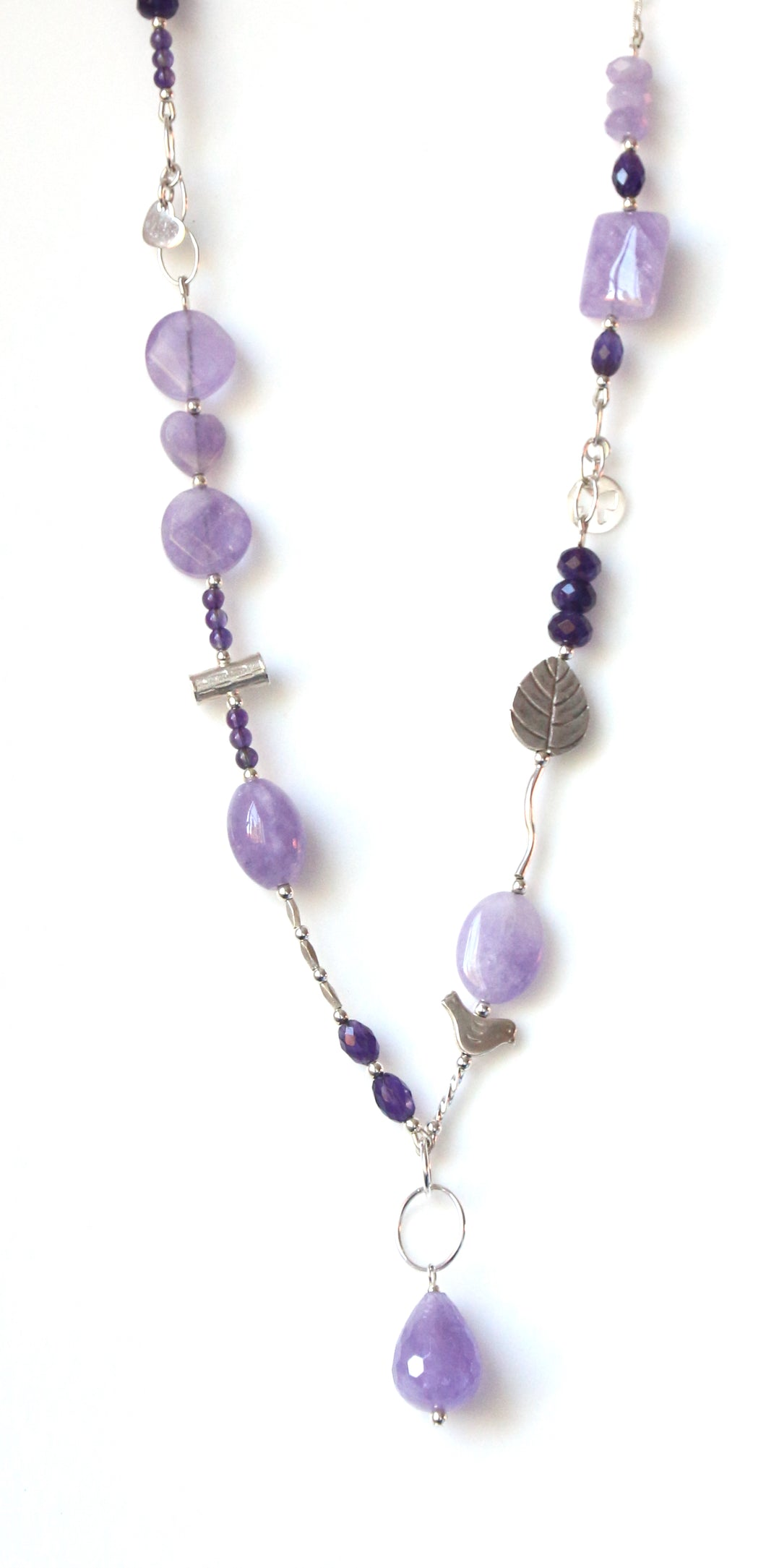 Australian Handmade Purple Necklace with Light and Dark Amethyst and Sterling Silver