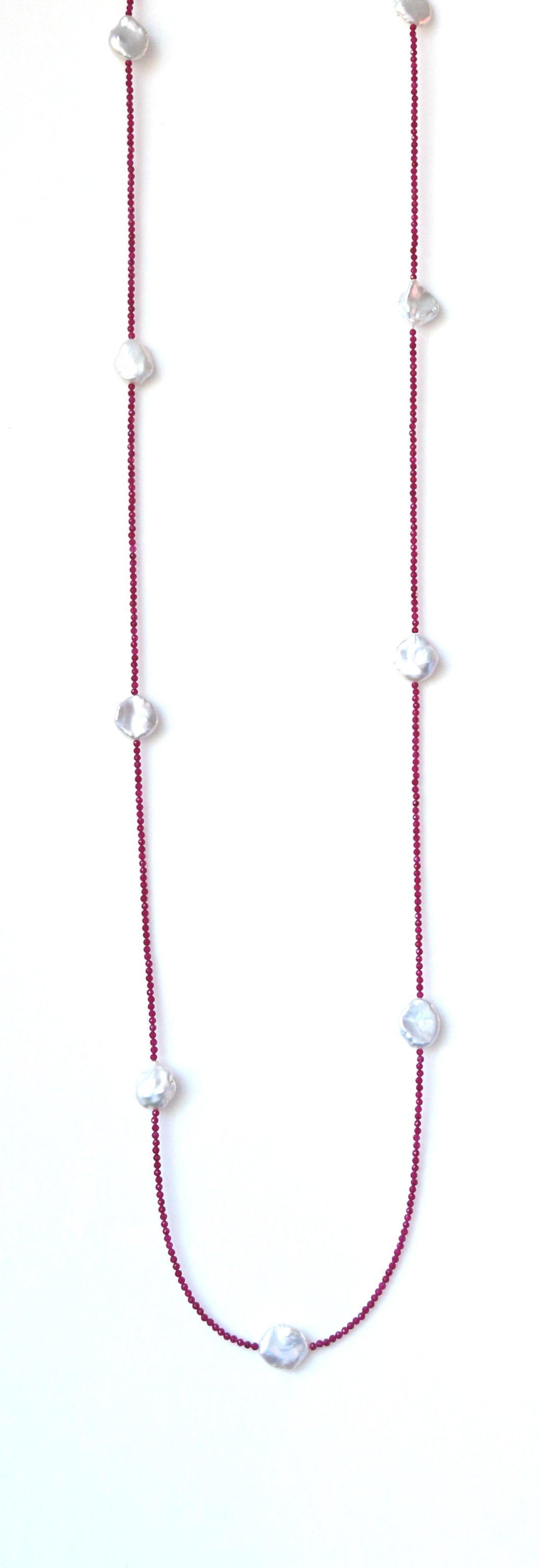 Australian Handmade Pink Long Necklace with Ruby and Baroque Pearls
