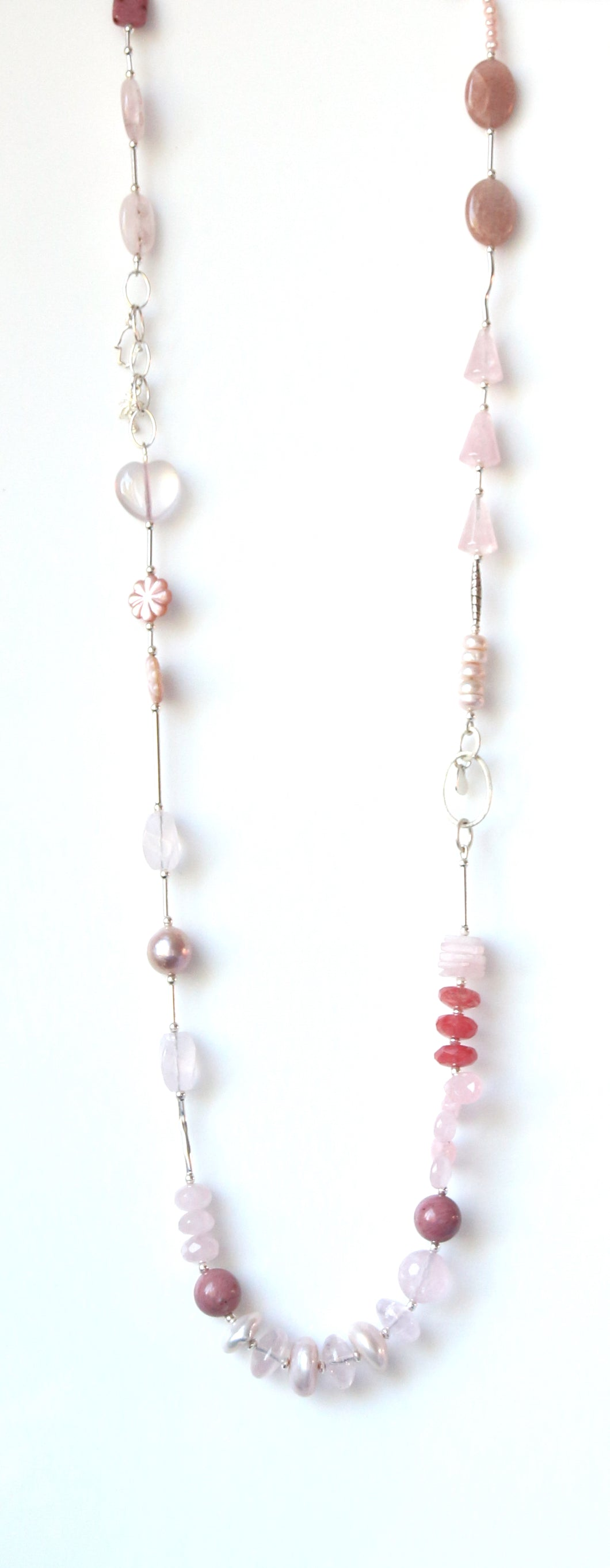 Australian Handmade Pink Necklace with Rose Quartz Moonstone Rhodonite Pearls and Sterling Silver
