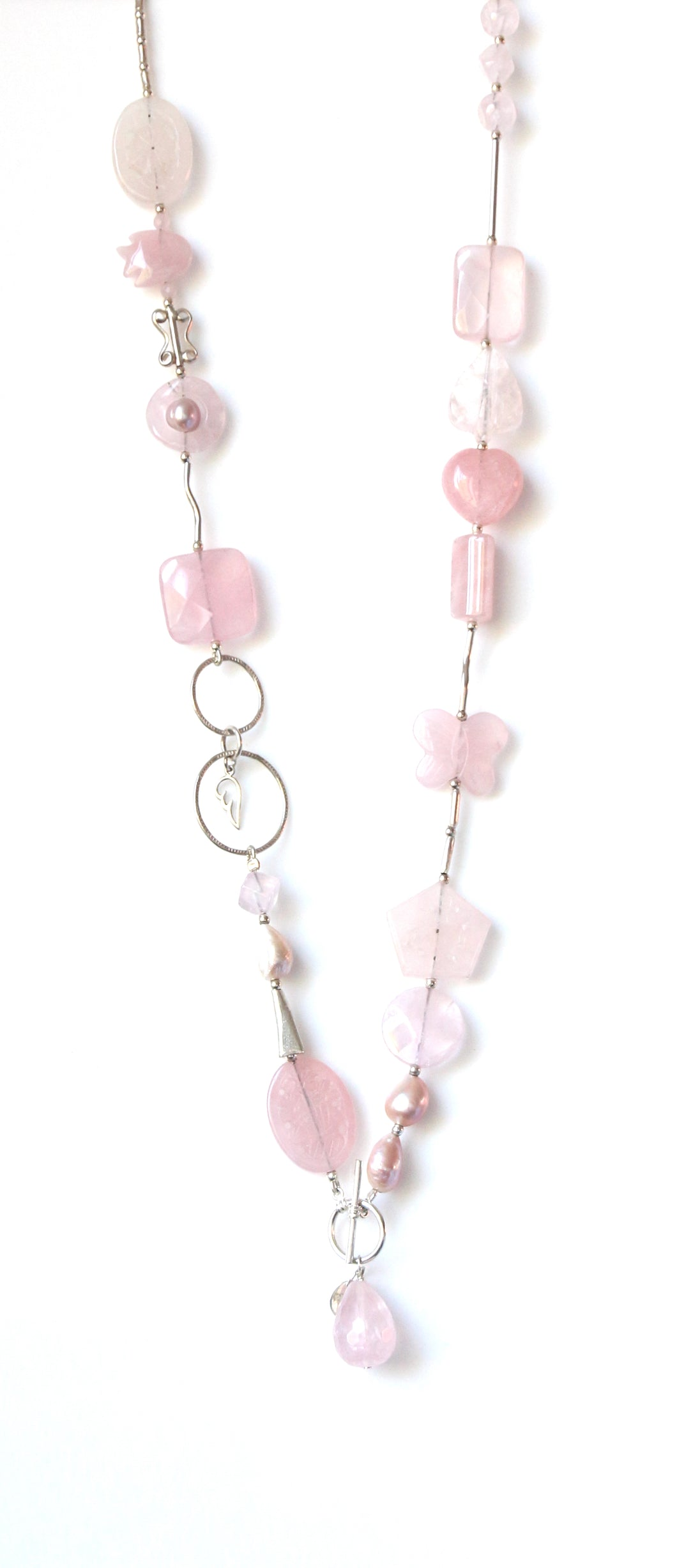 Australian Handmade Pink Fob Necklace with Rose Quartz Pink Pearls and Sterling Silver