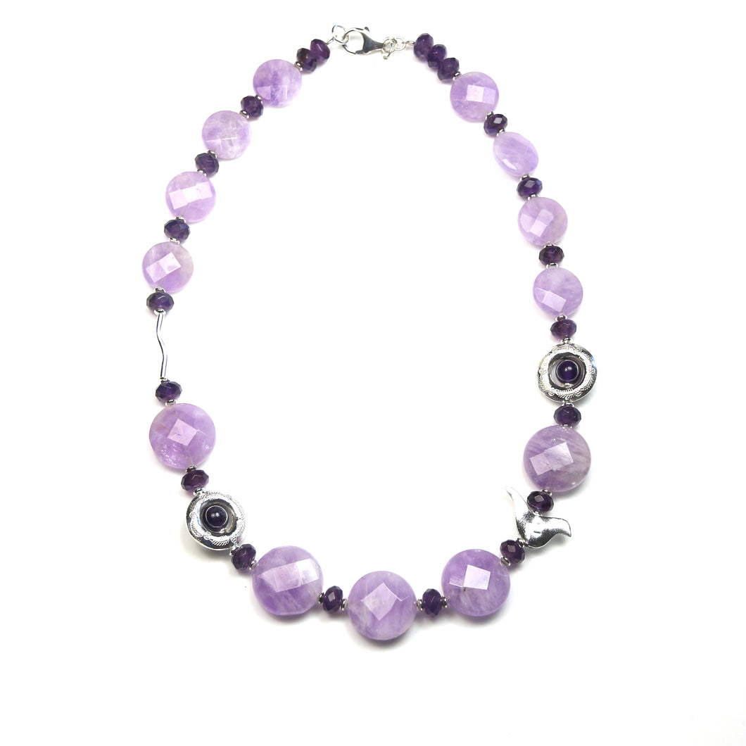 Australian Handmade Purple Necklace with Light and Dark Amethyst and Sterling Silver features