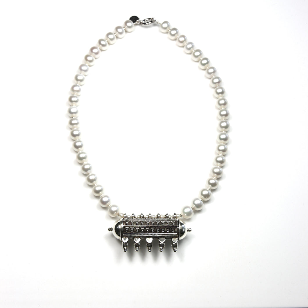 Australian Handmade White Pearl Necklace with Old Afghani Sterling Silver Pendant