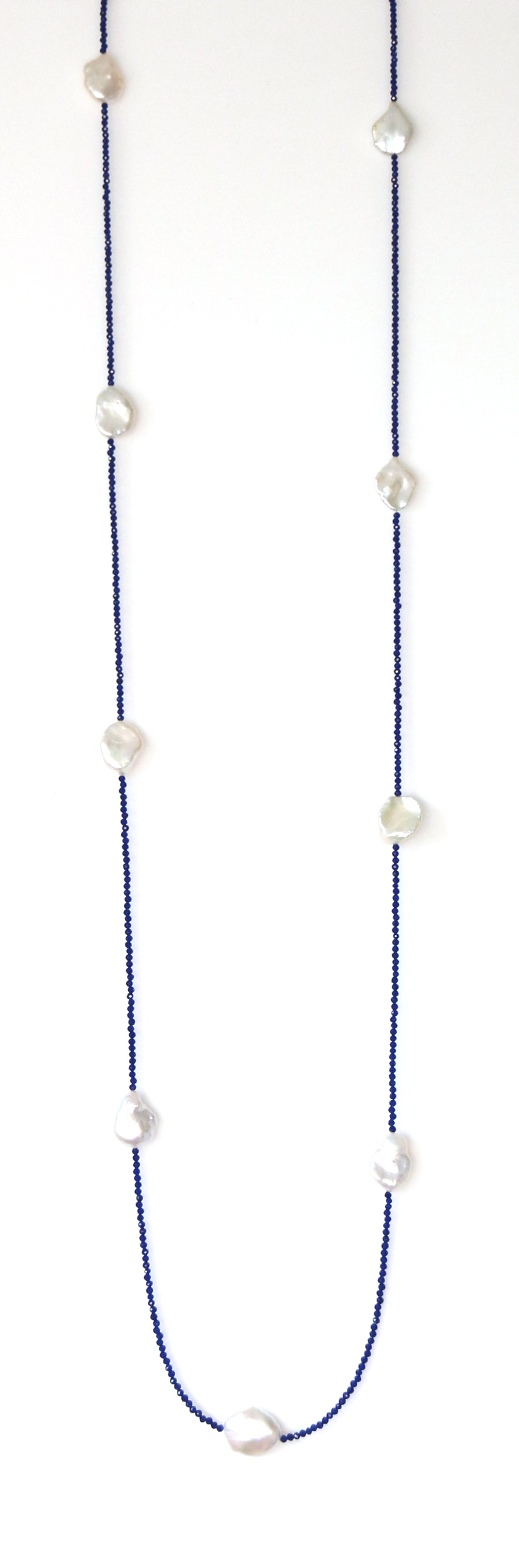 Australian Handmade Blue Lapis Lazuli Necklace with Baroque Pearls