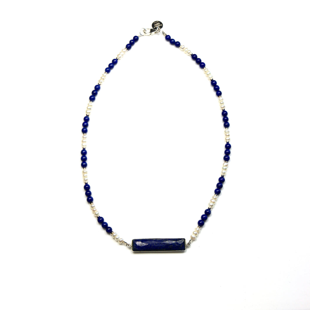 Australian Handmade Blue Necklace with Lapis Lazuli Pearls and Sterling Silver